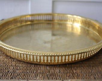 round brass tray, brass gallery tray, vintage cocktail tray, brass tray, vintage serving tray, Hollywood Regency, MCM