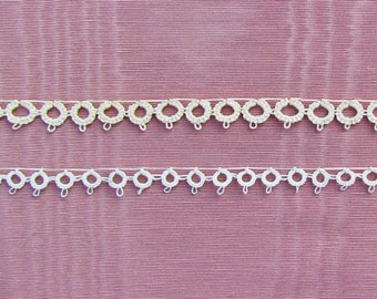Vintage tatted lace edge trim, 2 pieces of narrow tatted lace in white and cream
