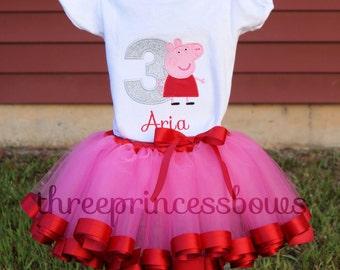 Peppa Pig Tutu Set - Birthday Ribbon Tutu Toddler First Birthday