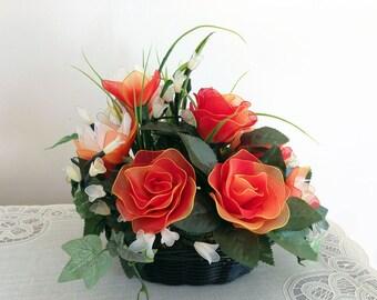 Handmade Nylon Flower Arrangement, Craft Flowers,  Nursery Décor, Wedding Décor, Nylon Flower, Handmade Flower, Gifts for Girl, office décor