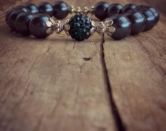 Navy Blue Pearl Bracelet • Pearl • Shamballa Rhinestone • Beaded Bracelet • Healing Bracelet • Stacking Bracelet • Mala