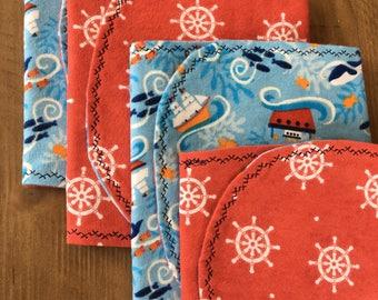 Cotton Baby Boy Burp Cloths - Set of 4 - Baby Shower Gift - Baby Gift - Nautical Theme