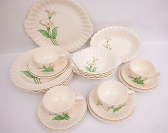 Vintage Calla Lily Dinnerware 22 Piece Set White Flowers Pottery Ware Calla Lily Dishes Made in USA Ribbed and Scalloped Serving Pieces