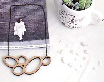 Wooden necklace - laser cut necklace - wooden pendant - wooden jewelry