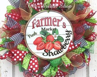 Summer Strawberry Wreath on Deco Mesh