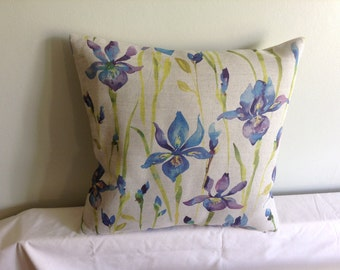 "16"" modern blue, purple, beige iris flowered cushion cover, pillow, pillow case, scatter cushion. Pillow sham"