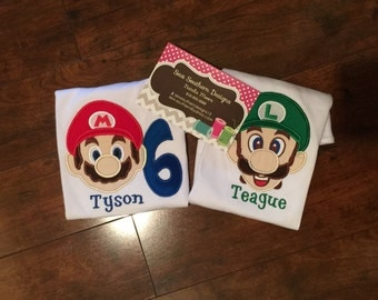 Super Mario and Luigi Birthday shirt