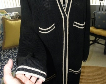 "1/2 OFF Peruvian Connection Vintage Black & White Duster Sweater 40"", Black Cardigan, Full Length,sz XL"