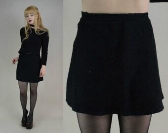 90s Black Nubby Knit High Waist Micro Mini Skirt XS / S