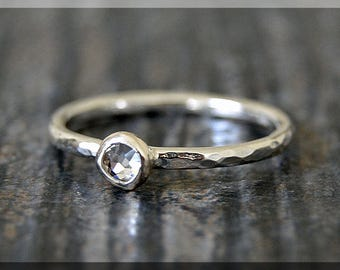 Sterling Silver Swarovski Diamond Ring, April Birthstone Stacking Ring, Mini Swarovski Ring, Clear Crystal Stacking Ring, Birthstone Ring