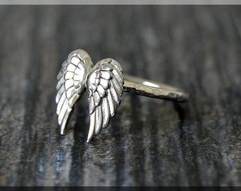 Angel Wings Ring, Sterling Silver Angel Wings Ring, Angel Jewelry, Stacking Jewelry, Stacking Ring, Faith Jewelry, Sterling Silver Ring