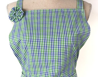 Woman's Apron - Green, White and Blue Plaid - Checkered - Womens' Cooking Apron - Made From Men's Dress Shirt - Recycled Upcycled - Kitchen