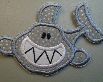 Iron on or sew on applique  patch of  a shark