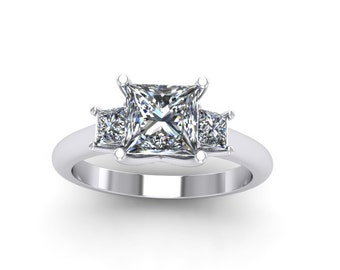 Princess cut moissanite engagement ring, style 135WM