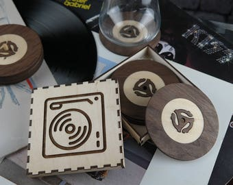 Set of 6 wooden coasters - Vinyl record edition - Retro vinyl coasters