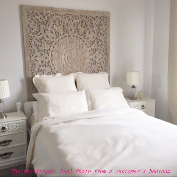 Rare queen bed headboard ft sculpture lotus by