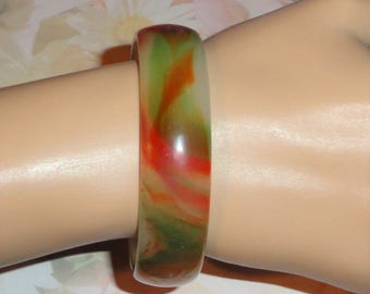 Marbled Swirled Swirl Shades Of Orange & Green Glass Bangle Bracelet Jewelry Accessory