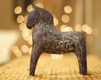 RETRO Swedish Dala Horse Natural Wood Antiqued Style Navy Blue, Wooden Dalahorse Carving