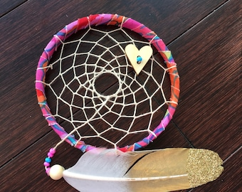 sale - Mini Dream Catcher - pink and blue - white and gold glitter feather - dreamcatcher -wingedwhimsy