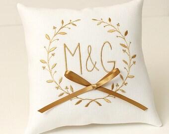 Wedding Ring pillow white ring pillow Ring bearer pillow personalized ring pillow Golden monogram linen wedding pillow