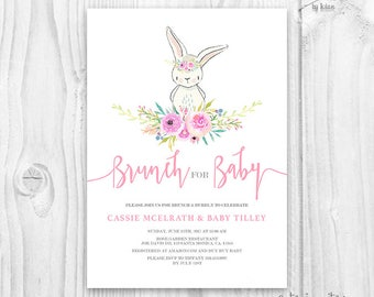 Bunny Baby Shower Girl Invitation   Floral Cute Bunny Baby Shower Invite    Blush Color Floral