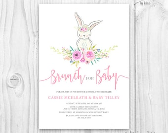 Bunny baby shower girl invitation - floral cute bunny baby shower invite - blush color floral invitation - cute rabbit invitation