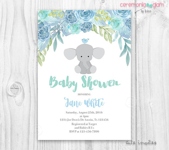 Elephant baby shower boy invitation blue floral by ceremonia glam il570xn filmwisefo