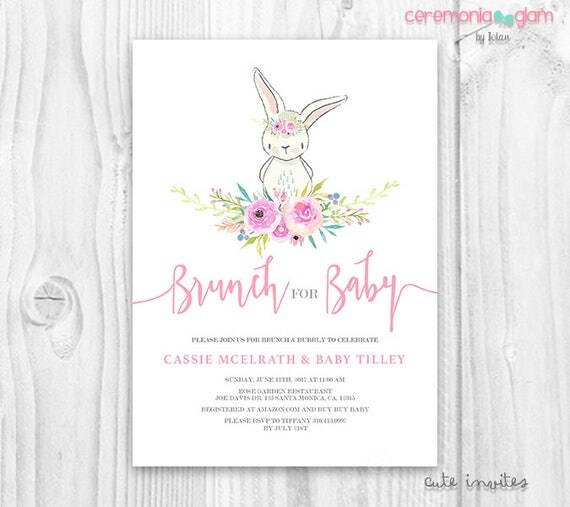 Baby Showers On Saturday Or Sunday ~ Bunny baby shower girl invitation floral cute