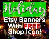 HOLIDAY/CHRISTMAS Etsy Banners, Large Etsy Banners, Christmas Shop Banners, Premade Christmas Banners, Christmas Lights, Elegant Holiday