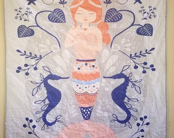 Mermaid Quilt - Blue and Coral Quilt - Toddler Bed Quilt - Crib Quilt - Baby Bedding - Toddler Blanket - Girls Blanket