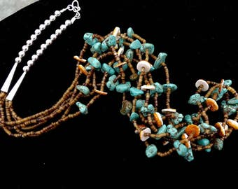 Vintage 33 Inch Navajo Triple Strand Natural Turquoise and Spiny Oyster Necklace with Heishi