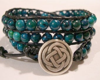 Beaded Leather Wrap Bracelet, Beaded wrap bracelet, Boho Bracelet - 883