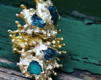 MERMAIDS DELIGHT APATITE Coral shaped Brass Ring - adjustable band
