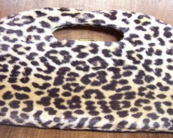 1960's Vintage Mid Century Faux Leopard Cut Out Handle Clutch Purse Bag