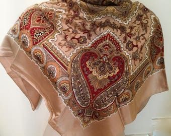 HALF PRICE Sale: Paisley Silky Scarf, Caramel Brown 1970s Mothers Day SALE