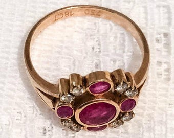 Ruby and Diamond Ring, 18K Gold, Art Deco Vintage Jewelry