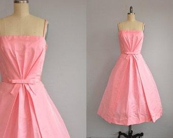 Vintage 1950s Party Dress / 50s Lanz Bubblegum Pink Bridesmaid Prom Dress