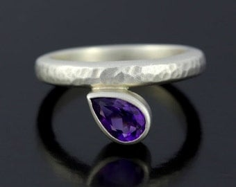 SALE 2 days only Teardrop Amethyst Silver Ring. Amethyst Promise Ring, 925 Hammered, Satin Finish Sterling Silver Ring - CS1524