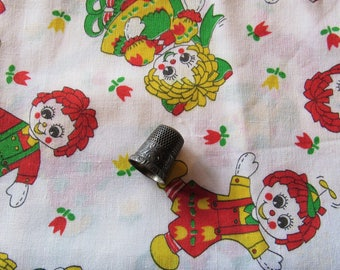 raggedy ann and andy novelty print vintage cotton blend fabric
