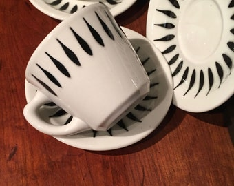 Cup and Saucer, White and Black Teardrop, Heavy Durable Restaurant Ware by Jackson China ca. 1978