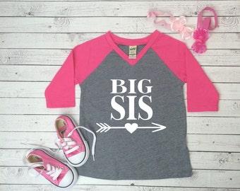 Big Sis, Big sis vneck baseball shirt, Sibling Shirt, Sibling baseball shirt, Big sister shirt, gender reveal shirt, baby announcement