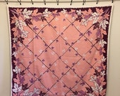 Vintage Tablecloth, Pink, Purple, White Leaf Tablecloth, Fall Tablecloth, Pink Table Cloth, Leaf Fabric