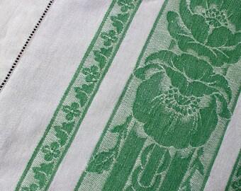 Vintage Linen Damask Tablecloth Grass Green White Flowers Floral Large Cotton