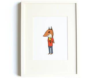 Ice Cream Fox 8 x 10 Print by Hello Small World, Fox Print, Kids Room Decor, Ice Cream Print, Animal in Clothes, Jaunty Animals