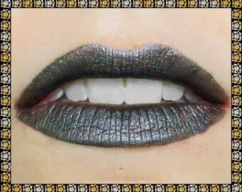 NOCTURNE Liquid Lipstick: 3.5 mL or 7 mL Tube, Metallic Gunmetal Grey with Gold/Green Sparkle, Vegan Matte Lipstick, Ships Out in 5-7 Days