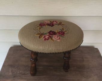 Antique Wood and Needle Point Footstool,Victorian Footstool,Tapestry