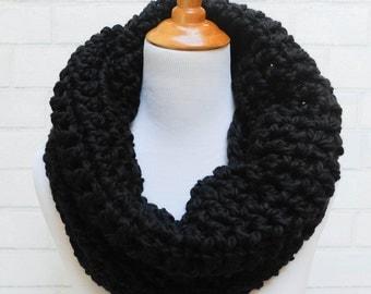 The Ainslie --Chunky Infinity Crochet Scarf in Basic Black