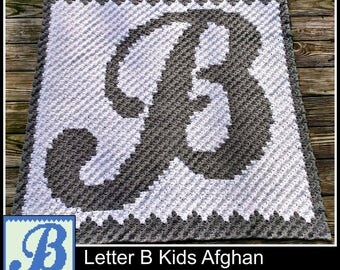 Letter B Kids Afghan, C2C Graph, Crochet Pattern