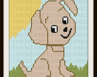 Puppy Twin Afghan, C2C Graph, Written Word Chart