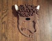 Buffalo Bison Hat Cap Ear Flap Hat, Baby Accessory, Photo Prop, Buffalo, NY Halloween Costume, Buffalo Bills, Buffalo Bisons